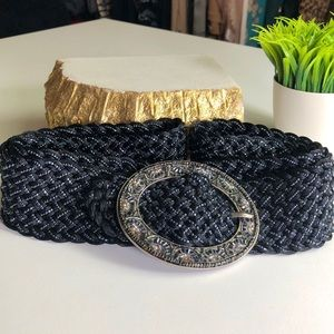 Vintage Beaded Woven Belt w/ Embellished Buckle